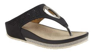 Cipriata – Toe Post Wedge Mule Sandal – Black