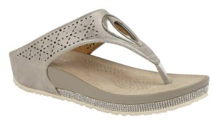 Cipriata – Toe Post Wedge Mule Sandal – Light Pewter