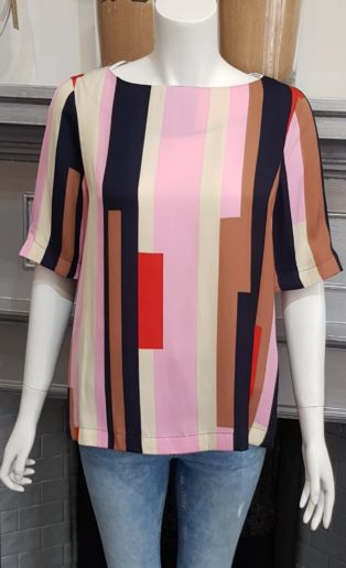 Vero Moda – Matilda Boatneck Top – Pink Stripe