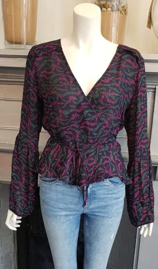 All the Wild Roses – Silk Wrap Top – Aubergine Print