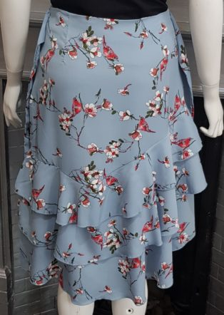 Sofie Schnoor – Birds of Paradise Print Skirt – Light Blue