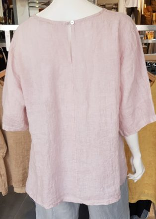 Diverse – Alice 100% Linen Button Back Top – Pink