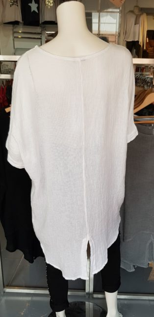 Diverse – Alyson – Split Back Linen Mix Tunic – White
