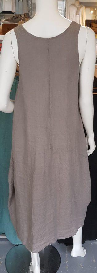 Diverse – Annie One Pocket 100% Linen Dress – Mole Grey