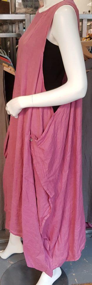 Astrid Side Button 100% Linen Dress/Tunic – Raspberry