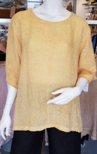 Diverse – Alice 100% Linen Button Back Top –  Mango