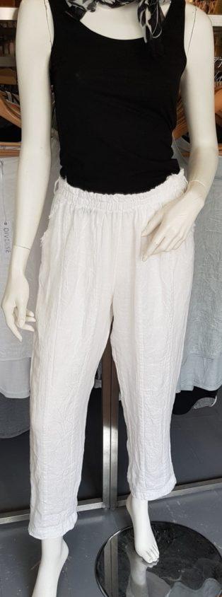 Abigail 100% Linen Pant – White