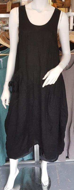 Diverse – Annie One Pocket 100% Linen Dress – Black