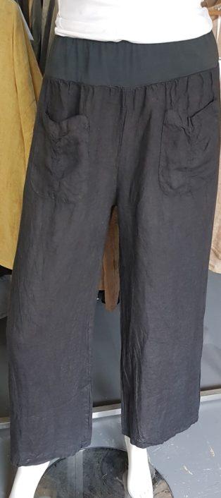 Diverse – Amie 100% Linen Palazzo Pant – Charcoal Grey