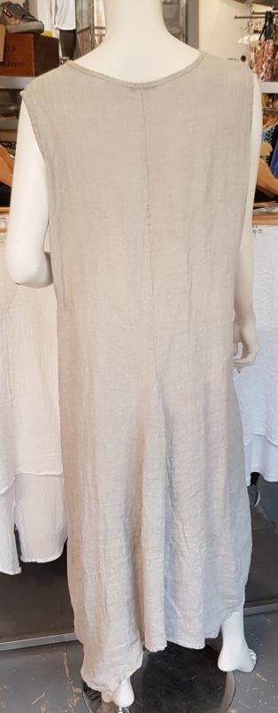 Alex – 100% Linen 'V' Neck Dress – Light Grey