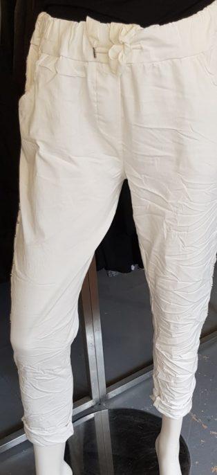 Biarritz Diamante Slouch Pant – White