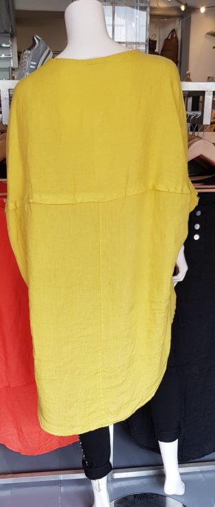 Diverse – Angharad 100% Linen Three Button Tunic – Banana Yellow