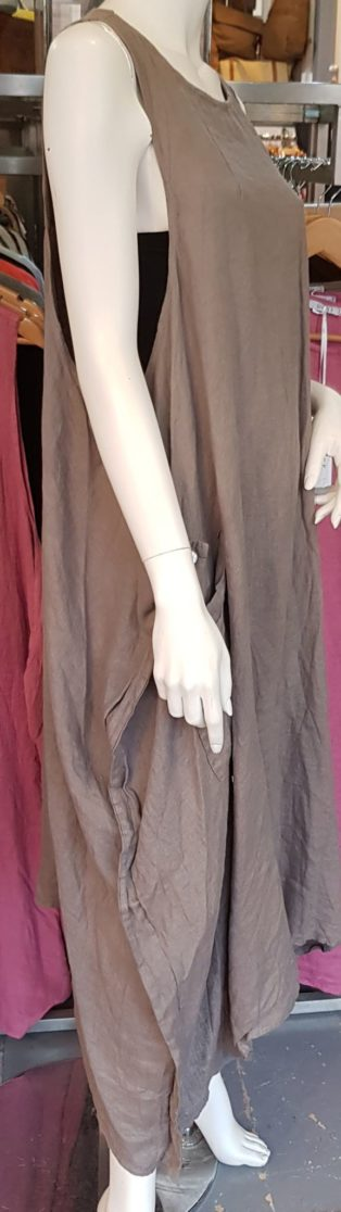 Astrid Side Button 100% Linen Dress/Tunic – Mole Grey