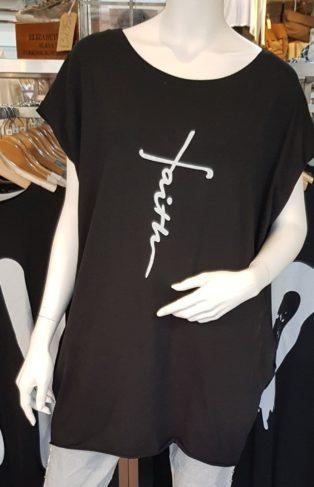 Faith T. Shirt /Tunic – Black