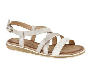 Buckle Halter Crossover Sandal – Silver Shimmer