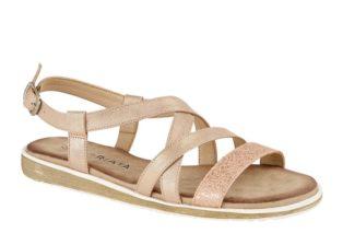 Cirpriata – Buckle Halter Crossover Sandal – Rose Pink Shimmer