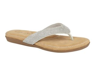'Alcee' Diamante Sandal – Silver