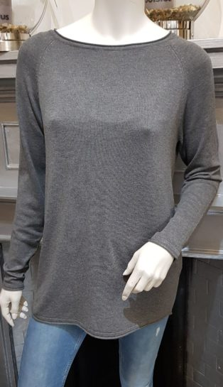 Vero Moda – Ellie Glory Long Sleeve Knit – Medium Grey Melange