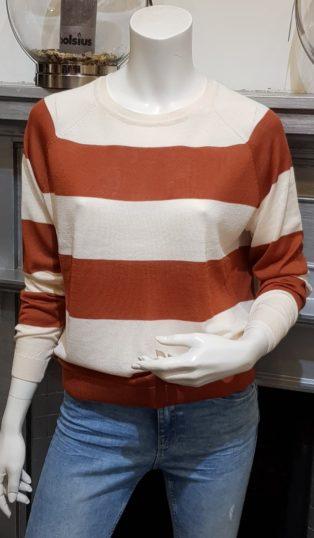Vero Moda – LINA BOO – Long Sleeved Knit – Cream & Auburn
