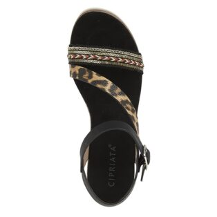 Cipriata – Halter Back High Wedge – Black Leopard Print