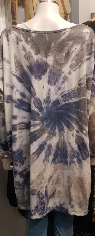 Diverse – Diana Tie Dye Sweatshirt – Blue Grey & White Mix