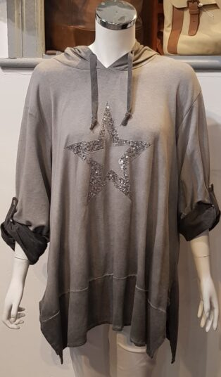 Diverse – Delilah Hooded Top with Sequinned Star – Distressed Grey
