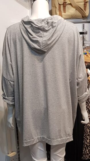 Diverse – Danika Hooded Top with Silver Heart – Light Grey
