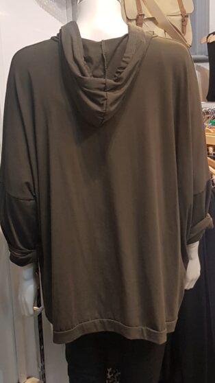 Diverse – Danielle Hooded Top With Paint Design – Khaki
