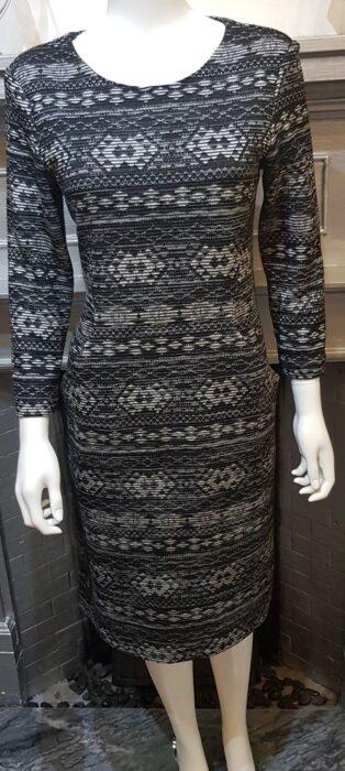 Pomodoro – Aztec Stripe Dress – Black with White & Grey (Copy)