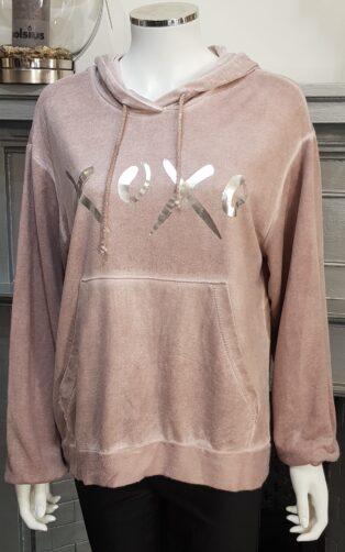 Diverse – XOXO Hooded Brushed Fleece Sweat – Pink
