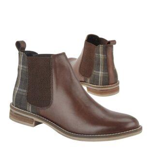 Cipriata – Zoe Leather & Tweed Ankle Boot – Dark Brown