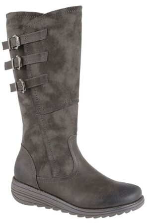 Cipriata –  Italiania 3 Buckle Wedge Boot – Grey