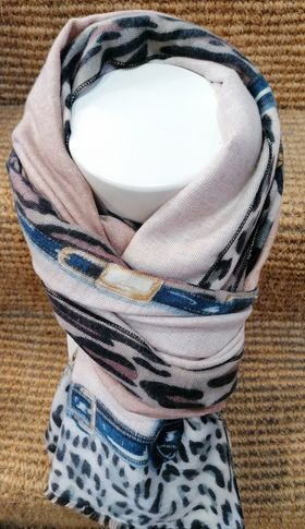 cashmere salmon/buckle scarf