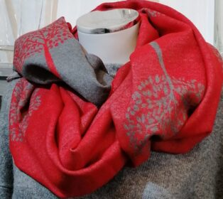 Reevo – Large Circle of Life Motif Scarf – Red & Grey
