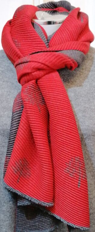 Reevo – Small Motif Circle of Life Scarf – Red with Grey