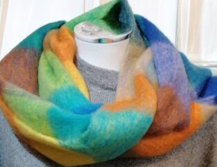Reevo – Large Check Scarf – Green, Blue & Multi Colours