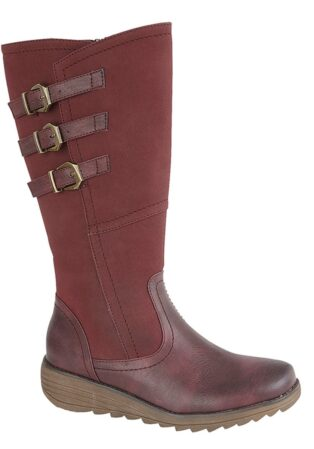 Cipriata – Italiana 3 Buckle Wedge Boot – Burgundy
