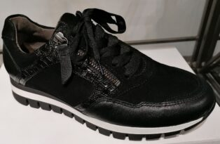 Gabor – Leather, Suede & Croc Trainer – Black