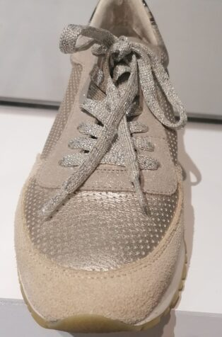 Reqins  – Eloge Mix Metal Trainers – Gold & Beige