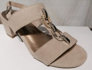 Marco Tozzi – Dune Comb Sandal with Snake Chain – Nude