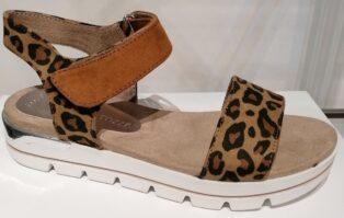 Marco Tozzi –  Animal Print Buckle Sandal – Cognac & Prinnt