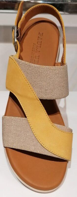 Paula Urban – Nabuk Wedge Sandal – Mustard