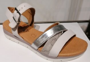 Caprice –  Low Wedge, Strappy Sandal – Light Grey