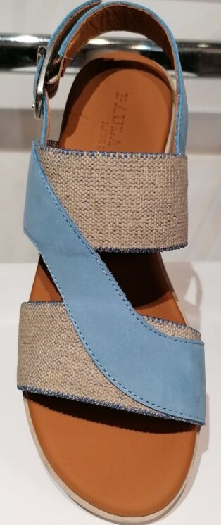 Paula Urban – Nabuk Wedge Sandal – Blue