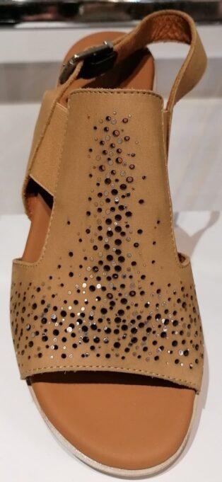 Paula Urban – Nabuk Sling Back Sandal – Caramel