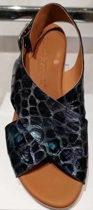 Paula Urban – Murano Wedge Sandal – Blue Snake