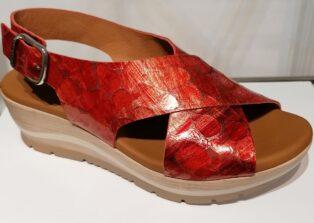 Paula Urban – Murano Wedge Sandal – Burnt Orange Snake