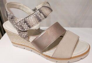 Gabor –  Snakeprint and Metallic Wedge Sandal – Grey, Metallic and Snake