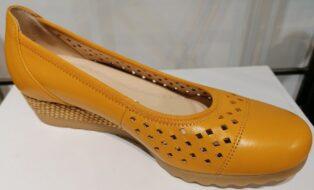 Gabor – Leather Chiffon Espadrille – Mango with Raffia