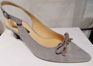 Gabor – Sling Back Shoe – Grey with Multi Coloured Bow